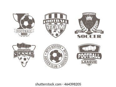 Set of european football, soccer labels, emblems and design championship elements