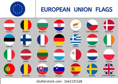 Set of European Union flags, round icons, Europe countries flags