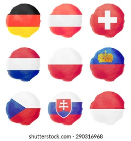 Set of european watercolor flags, nine vector icons