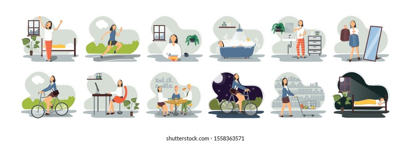 Set of everyday leisure and work activities performing by young woman. Bundle of daily life scenes. Girl sleeping, eating, working, doing sports, grocery shopping.