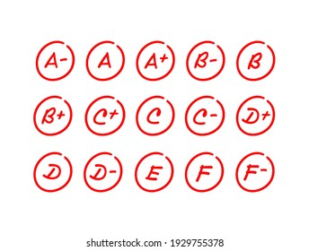 Set of exam results, red letter grade mark inside a circle, hand drawn test score illustration - Vector