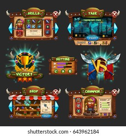Set of example of wooden board user interface of game. Window of level choice, shop, skills, choice character, setting and victory. Vector illustration.