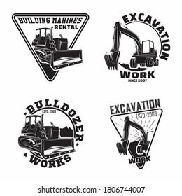 Set of Excavation work emblems design, emblems of bulldozer or building machine rental organisation print stamps, constructing equipment, Heavy bulldozer machine typographyv emblems, Vector