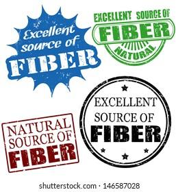 Set of excellent source of fiber grunge rubber stamps, vector illustration