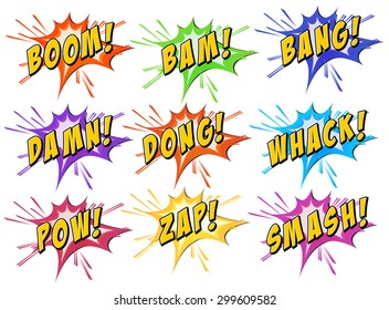 Set of exclamating words on white background
