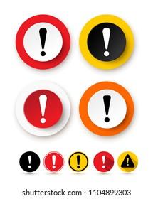 Set of exclamation mark icon. Hazard warning symbol. Attention sign icon. Vector illustration. Isolated on white background