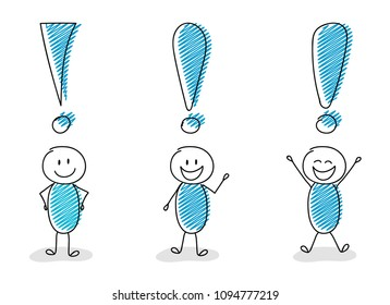 Set of exclamation points with funny stickmen. Vector.