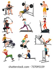 Set of exercise equipment with people including treadmill, bench press, elliptical trainer, gym bike isolated vector illustration