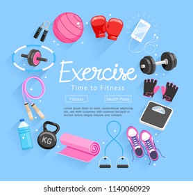 Set of Exercises equipment. Vector Illustrations.