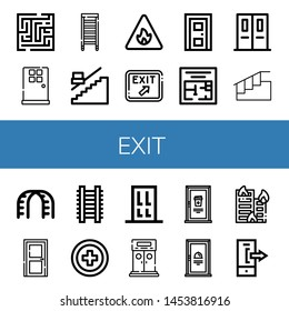 Set of exit icons such as Maze, Door, Ladder, Stair, Fire sign, Exit, Evacuation plan, Emergency exit, Stairs,  cross, Entrance, Building on fire, Logout ,