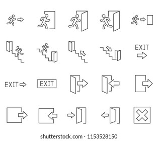 Set of exit Related Vector Line Icons. Contains such Icons as stairs, public navigation, signs, entrance, doors and more.