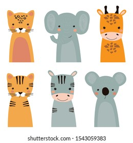 Set of exotic animals with tiger, Zebra, giraffe, Cheetah, Koala and elephant on colored background. Vector illustration for printing on fabric, postcard, wrapping paper, book, picture, Wallpaper.