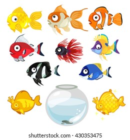 A set of exotic fish for the aquarium. Vector illustration.