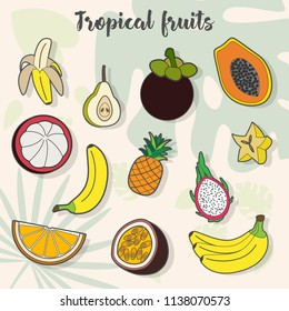 Set of exotic fruits icons. collection of bananas, pineapple, mangosteen, carom, pear, pitaya, passion fruitfruit patches and pins