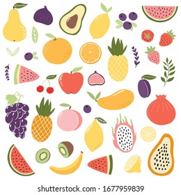 Set of exotic fruits in modern vector hand drawn scandinavian style,summer symbol, fruit salad.Doodle cute fruits, pineapple,apple,watermelon,mango,fig,lemon,strawberry,avocado, orange, banana,papaya
