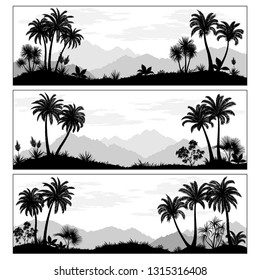 Set Exotic Landscapes, Palms Trees, Tropical Plants, Flowers and Mountains Black and Grey Silhouettes. Vector