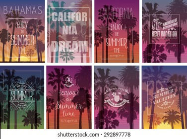 Set of Exotic Print with Palms for T-shirt. Summer Travel Backgrounds . Party and Vacation Banners. Nature Landscapes.