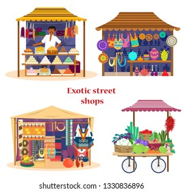 Set of exotic street shops in flat cartoon style. Asian market set. Vegetables cart, sweets shop with merchant, fabrics and carpets shop,  Mexican souvenirs. Trade fair. Flat design.