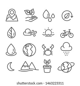 Set of explore the nature icon isolated. Modern outline on white background