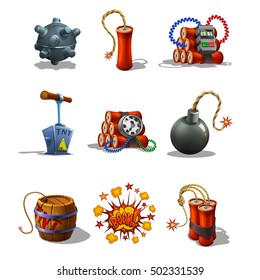 Set of Explosive Icons and detonating fuse isolated on white background. Vector illustration.