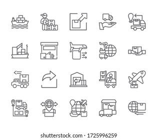 Set of export Related Vector Line Icons. Includes such Icons as delivery, transfer, transport, parcel and more. - vector