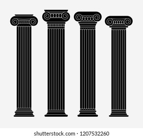 Set of exquisite greek, italian ancient columns. Black linear silhouettes. Vector illustration.