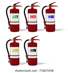 Set of Extinguisher tank with Fire class icon on transparent background