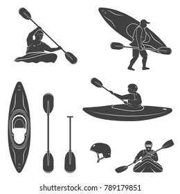 Set of extrema water sports equipment, kayaker and canoe silhouettes. Vector illustration. Collection include kayak, paddles, helmet and kayaker silhouettes.