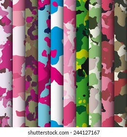Set of extreme palette camo textures vector