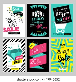 Set of eye catching web banners for shopping, sale, product promotion, clearance. Vector illustrations for social media banners, posters, email and newsletter designs, ads, promotional material.