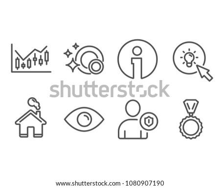 Set Eye Financial Diagram Energy Icons Stock Vector Royalty Free