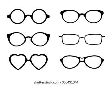 Set of eye glasses icons isolated on white background. Vector illustration.