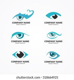 set of eye logos vector