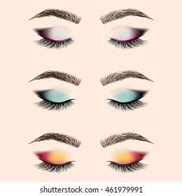 Set of eye makeup. Closed eye with long eyelashes and eyebrows. Vector illustration.
