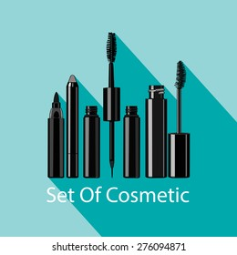 set of eye makeup -  mascara, eyeliner, liquid eyeliner. Vector illustration for cosmetic banners, brochures and promotional items. Blank cosmetic tubes on blue background.  Place for your text.