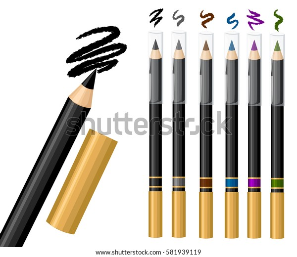 Set of eye pencil. Vector fashion sketch makeup contrasty glamour in vogue style. Isolated elements on white background eye