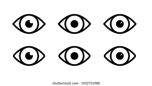Set of Eye Vectors. Eye Icon and Symbols Collection. Simple Flat Outline Stroke Eye Vector.