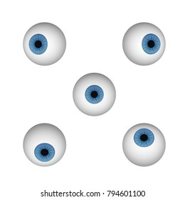 A set of eyeballs. Blue human eye vector illustration. Looking right, down, up, right and left.