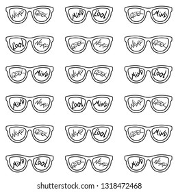 Set of eyeglasses with inscriptions: nerd, cool, mind, geek. Seamless pattern with glasses and inscriptions: nerd, cool, mind, geek. Vector illustration