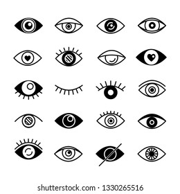 Set of eyes black logo. Vector
