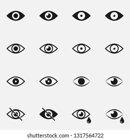 Set of eyes black and white vector icon.
