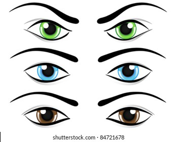 Set of eyes in different colors and mood. Vector illustration.