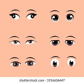 Set of eyes in different style