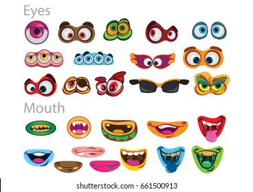 Set of eyes and mouthes for creating sweet childish monsters. Vector set illustration isolated on white background