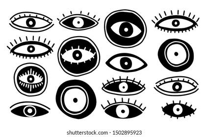 Set eyes mystic hand draw.Occult mystic emblem.Evil Seeing eye symbol naive set.Vector illustration.