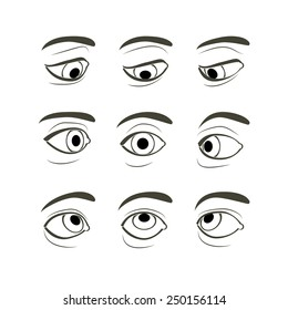Set of Eyes Positions. Front View of the Right Human Eye in Nine View Modes: Front, Sides (Left and Right), Up, Down, Up and Sides(Left and Right), Down and Sides(Left and Right)