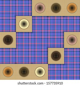 set of fabric with buttons on a contrasting background