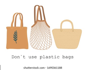 Set of fabric, mesh and wicker eco bag isolated on white background. Modern organic shopper, for trendy women. Vector illustration on flat cartoon style.