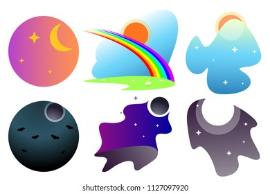 Set of fabulous backgrounds for games with differents elements,gradients: star,moon,sun,bat,flowers,rainbow. Cute fairy backgrounds for fantastic creatures. Modern flat cartoons vector illustration