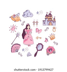 A set of fabulous elements for a little girl. Princess, carriage, castle, magic wand, slipper, mirror, cloud. Vector illustration in flat style for baby design